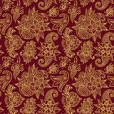 Mehendy golden flower seamless pattern design tracery vector illustration floral bacground Stock Photos