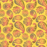 Mehendy golden flower seamless pattern design tracery vector illustration floral bacground Stock Photography
