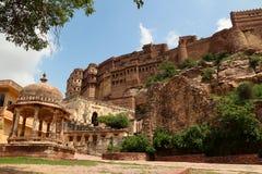 Meherangarh堡垒在乔德普尔城 图库摄影