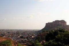Meherangarh堡垒在乔德普尔城 免版税库存照片