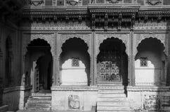 Meherangarh堡垒建筑学在乔德普尔城(黑白) 库存照片