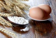 Mehl auf Löffel und Eiern Lizenzfreies Stockbild
