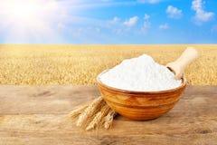 Mehl in der Schüssel auf Naturhintergrund Stockbild