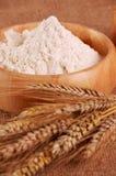 Mehl mit dem Ohr des Weizens Stockfotos
