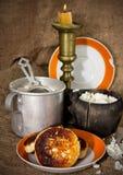 Mehl und Hüttenkäse lizenzfreies stockbild