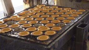 Mehlbonbon-Nusslebern mit Kondensmilch, Süßigkeitenproduktion backen und herstellend, traditionell stock video footage