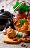 Mehlklöße mit Knoblauch Frische Petersilie Lizenzfreie Stockfotografie