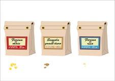 Mehlsäcke, Hartweizen, Mais und Reis Lizenzfreie Stockfotos