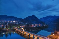 The Mehmed Paša Sokolović Bridge, in Višegrad, over the Drina River in eastern Bosnia and Herzegovina. It was completed in 16 century by the Ottoman stock images