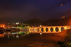 The Mehmed Paša Sokolović Bridge, in Višegrad, over the Drina River in eastern Bosnia and Herzegovina. It was completed in 16 century by the Ottoman royalty free stock photo