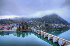 The Mehmed Paša Sokolović Bridge, in Višegrad, over the Drina River in eastern Bosnia and Herzegovina. It was completed in 16 century by the Ottoman royalty free stock images