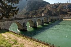 Mehmed Pasha Sokolovic  historic bridge over Drina river in Visegrad,Bosnia and Herzegovina royalty free stock photos