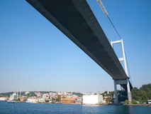Mehmet Fatih bridge in Istanbul, bottom view Royalty Free Stock Images
