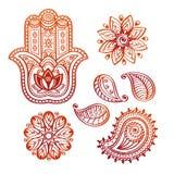 Mehndi纹身花刺乱画元素用hamsa手、印地安莲花和佩兹利 免版税库存照片
