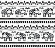 Mehndi,印地安与大象的无刺指甲花纹身花刺无缝的样式 免版税库存图片