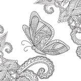 成人的着色页 无刺指甲花Mehndi乱画与蝴蝶的抽象花卉元素 库存图片