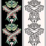 与印度尼西亚主题的无缝的垂直的样式 在黑白背景隔绝的手拉的mehndi纹身花刺乱画边界 免版税库存图片