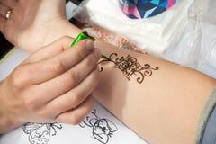 Mehndi application on woman hand, skin decoration Stock Photo