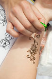 Mehndi application on woman hand, skin decoration Stock Images