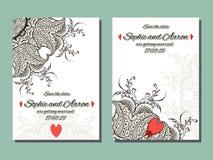 Mehndi blommar kortet för att gifta sig stock illustrationer