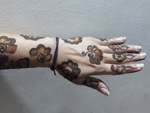 Mehndi, A design hands with henna. A design made on hand with Henna, A temporary henna tattto royalty free stock image