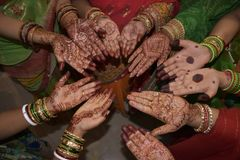 Mehndi design on hands royalty free stock images