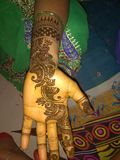 Mehndi design. New one hand mehndi design stock photos