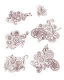 Mehndi designbeståndsdelar med blommor och fjärilen Royaltyfria Foton