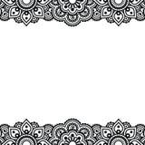 Mehndi, diseño indio del tatuaje de la alheña - tarjeta de felicitaciones, ornamento del cordón Imagen de archivo libre de regalías