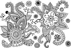 Mehndi doodle elements set. Graphic collection - coloring page f vector illustration
