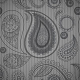 Mehndi grey simple seamless pattern on stripped background, male Stock Images