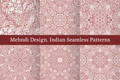 Mehndi henna design seamless patterns Royalty Free Stock Photos