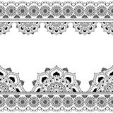 Mehndi Henna line lace element with circles pattern Stock Photography