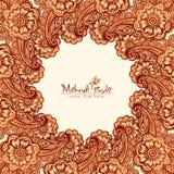 Mehndi henna tattoo style round frame Royalty Free Stock Image