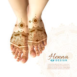 Mehndi Henna Woman Feet  Realistic Design. Bride feet coloring with indian henna paste or mehndi design of symbolic tattoos realistic advertisement poster vector Royalty Free Stock Photo