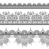 Mehndi-Hennastrauch drei zeichnen nahtloses Muster der Spitzes für Tätowierungselemente in der indischen Art auf weißem Hintergru Lizenzfreie Stockbilder