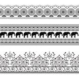 Mehndi-Hennastrauchgrenzzeichnen nahtloses Musterelement mit Elefanten und Blume die Spitze in der indischen Art lokalisiert Stockbild