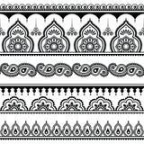 Mehndi, het Indische naadloze patroon van de Hennatatoegering, ontwerpelementen Stock Afbeelding
