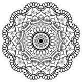 Mehndi Indiańskiej henny elementu kwiecisty mandala dla tatuażu lub karty Zdjęcia Stock