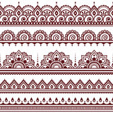 Mehndi, Indian Henna tattoo brown seamless pattern, design elements Royalty Free Stock Photography