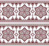 Mehndi, Indian Henna tattoo brown seamless pattern, design elements Stock Image