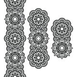 Mehndi, Indian Henna tattoo long pattern, design elements Stock Photo