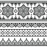 Mehndi, Indian Henna tattoo seamless pattern, design elements Royalty Free Stock Images