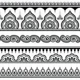 Mehndi, Indian Henna tattoo seamless pattern, design elements Stock Image