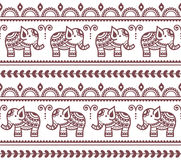 Mehndi, Indian Henna tattoo seamless pattern with elephants Stock Images