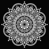 Mehndi, Indian Henna tattoo white pattern on black background Royalty Free Stock Photography