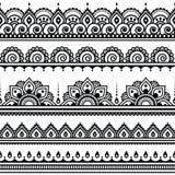 Mehndi, Indische Hennatatoegering om patroon royalty-vrije illustratie
