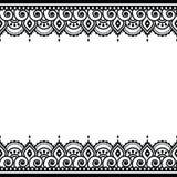Mehndi, indisches Hennastrauchtätowierungsdesign - Grußkarte, Spitzeverzierung Stockbilder
