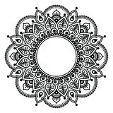 Mehndi lace, Indian Henna tattoo round design or pattern Stock Images