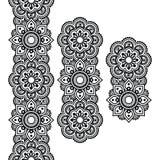 Mehndi, langes Muster der indischen Hennastrauchtätowierung, Gestaltungselemente Stockfoto